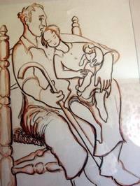 Dibujo de Pedro Alvarez que trasmite la con fuerza la relación familiar en los años 40
